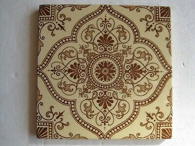 ANTIQUE VICTORIAN AESTHETIC BROWNS ON BUFF TRANSFER PRINT TILE PATTERN No.483