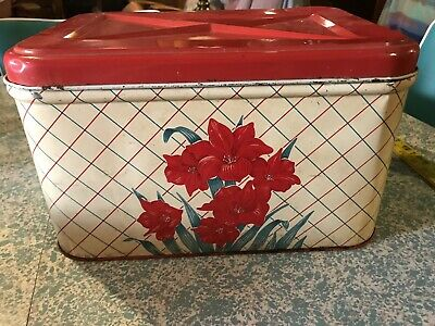 Vintage Metal Bread Box Keeper Tin Red Flowers With Red And Turquoise Plaid