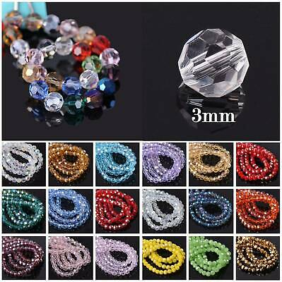 100Pcs 3mm 32 Facets Faceted Czech Crystal Glass Loose Spacer Beads Lot Crafts