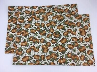 Longaberger Placemat Placemats Set of 2 Halloween Pumpkin Patch NIP