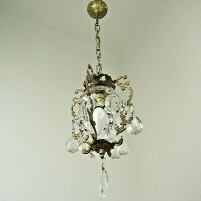 French Antique Small Brass Crystal & Metal Single Light Cage Chandelier 1575