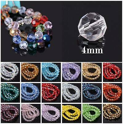100Pcs 4mm 32 Facets Faceted Czech Crystal Glass Loose Spacer Beads DIY Jewelry