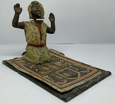 Antique Georg Heyde Germany Praying Arab Man on Rug Nodder Nodding Metal Spelter