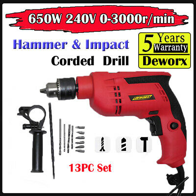 650w Hammer Impact Drill Variable Speed Electric Corded Drill 240v Driver DIY