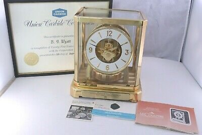 Jaeger Le Coultre Atmos Clock Tested Runs Keeps Time Union Carbide Service Award