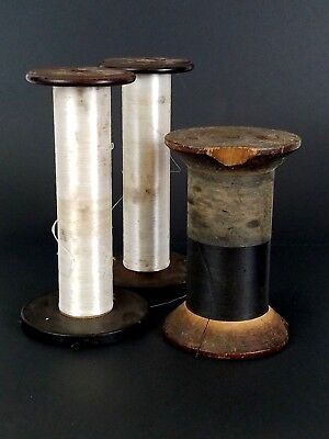 Vtg Antique Wooden Industrial Textile Rope Thread Spools Bobbins Lot of 3 Sewing