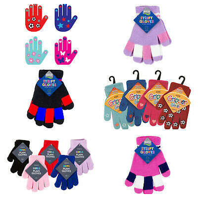 Childrens winter gloves plain stripy & gripper warm boys girls wool 2-6 years