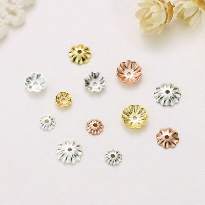 10pcs 925 Sterling Silver Flower Spacer Bead Caps End Beads 6//8//10mm DIY A2638