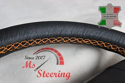 For Toyota Supra 93-98 Black Leather Steering Wheel Cover, Orange Stit