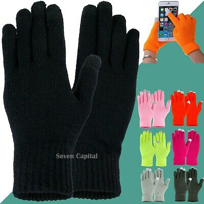 Mens Womens Winter Knit Warm Touch Screen Gloves Thermal Insulated Finger Mitten