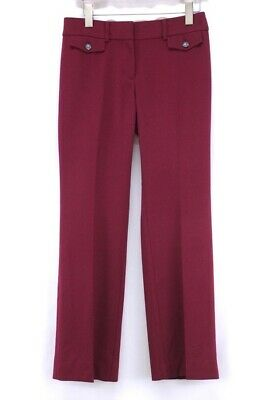 womens burgundy ANN TAYLOR LOFT julie trouser pants dress straight career XS 2