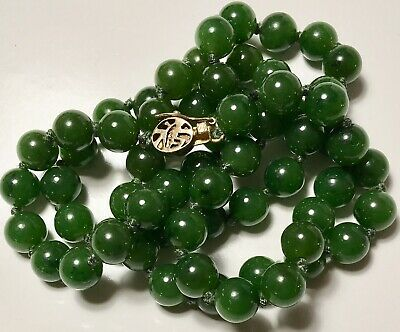 "ANTIQUE BURMESE JADEITE JADE A IMPERIAL EMERALD GREEN BEADED 24"" NECKLACE 53gms"