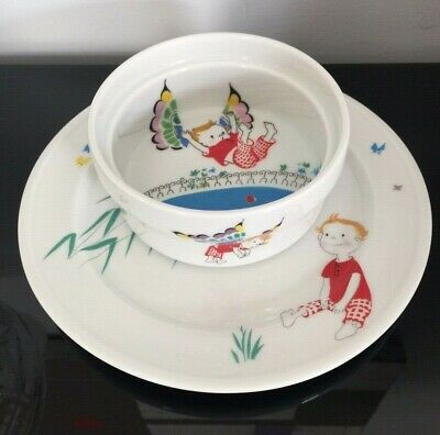 EUC*** Bidasoa Spain Porcelain Child Childrens Plate and Cereal Bowl Set