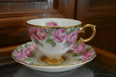 Royal Sealy China Cup and Saucer with Pink Roses 22K Gold Trim Made in Japan