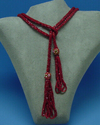 Antique 1920S Flapper Era Red Glass Bead Rope Necklace Tassels & Beads Art Deco