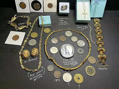 Junk Drawer Estate Lot Vintage 925 Sterling Gold Tone Jewelry Ring Silver Coin