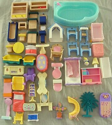 Doll House FURNITURE Fisher Price 1993 Loving Family + Wood & Mixed Lot Bulk x47