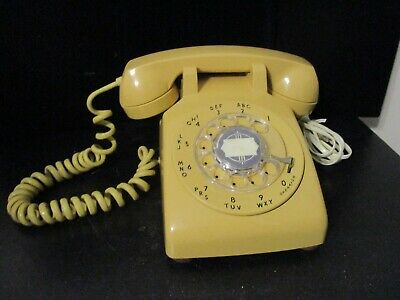 Vintage Yellow ITT Rotary Dial Desk Phone 1969 Works!