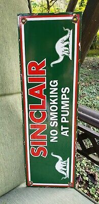 SINCLAIR NO SMOKING porcelain sign DINO gasoline vintage brand gas pump plate