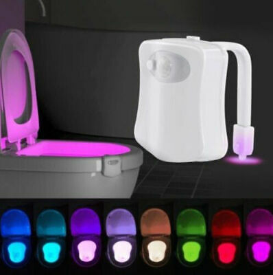Toilet Night Light 8Color LED Motion Sensor Activated WC Bathroom Seat Bowl rA