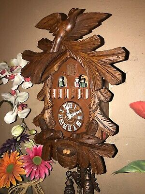 Nice German Carved Animated Feeding Birds Musical Cuckoo Clock With Dancers