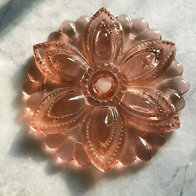 "1 Antique Sandwich Glass Rosette Curtain Drapery Tie Back Light Rose Pink 1800""s"
