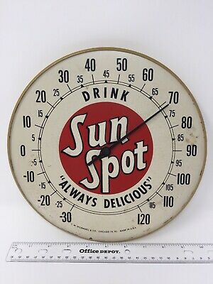 """Vintage Tin SUN SPOT Drink Soda Pop Gas Station 10"""" Thermometer Sign ~No Glass~"""