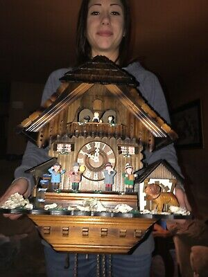 German Animated Oompah Band 8 Day Musical Cuckoo Clock With Waterwheel Dancers