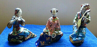 3 Stunning Chinese Vintage Court Musician Women Figurines very fine quality