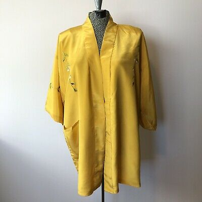 Vtg Yellow Embroidered Floral Open Front Kimono Jacket Robe Made in Japan