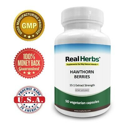 Real Herbs Hawthorn Berry Extract - 15:1 Extract Strength - 50 Vegetarian Cap