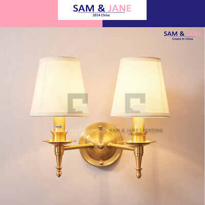 Fabric Cone Night Light Bell Brass Wall Lamp BISTRO Wall Sconce French LED