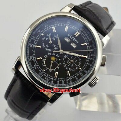 42mm Debert Black dial strap Silver case Moon phase automatic date  Men's Watch