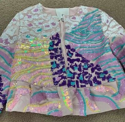 New RIVER ISLAND Girls pink multi animal sequin flare jacket size 9