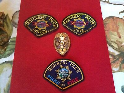 City Of Rohnert Park PublicSafety Gold Inspector Badge And Three PS Patches