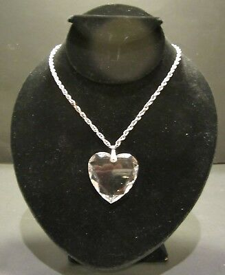 Vintage Cut Glass Crystal Heart Pendant Necklace Silver Tone Chain