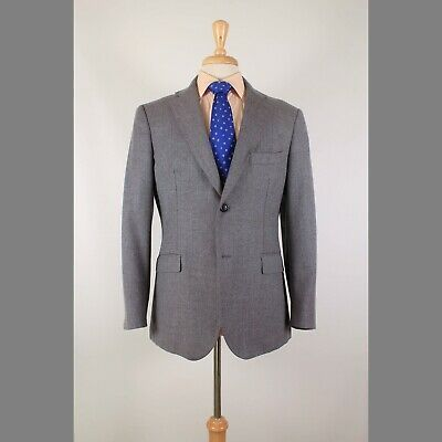 Saks Fifth Avenue 42R Gray Solid Wool Two Button Slim Sport Coat