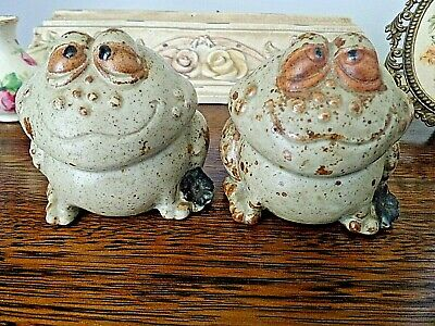 Vintage Gempo Japan Frog Salt & Peppers Original Stoppers, Large, Collectible