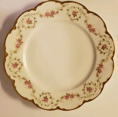 """Theodore Haviland Limoges Schleiger Rose Gilt/Gold, Hand Painted Plate 9 3/4"""""""