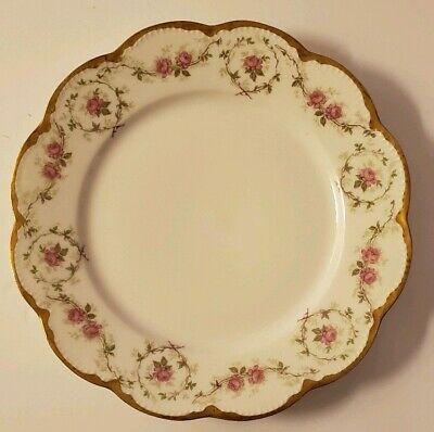 """Theodore Haviland Limoges Schleiger Rose Gilt/Gold, Hand Painted Plate 8 1/2"""""""