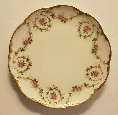 """Theodore Haviland Limoges Schleiger Rose Gilt/Gold, Hand Painted Sm Plate 6 1/4"""""""