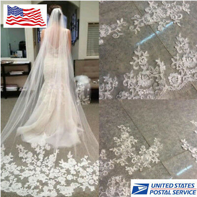 1pc 3 M Length Ivory White Cathedral Lace Edge Bride Wedding Bridal Veil + Comb