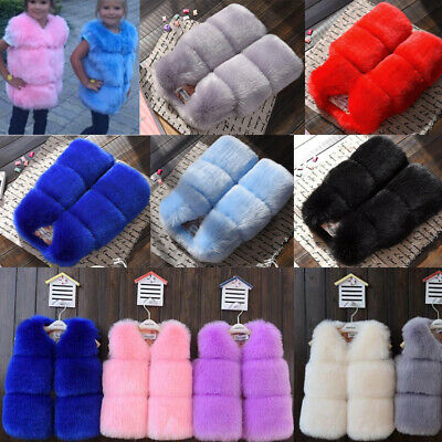 Toddler Kids Girls Faux Fur Vest Gilet Winter Waistcoat Coat Bodywarmer 1-10Y