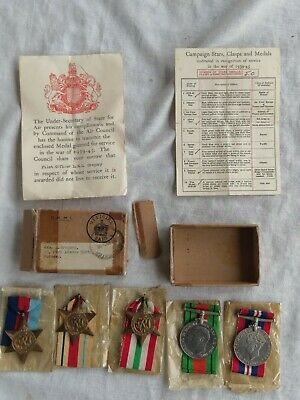 WW2 British RAF medal group of 5. Killed 1942. Pilot. Africa, Italy. Box, letter