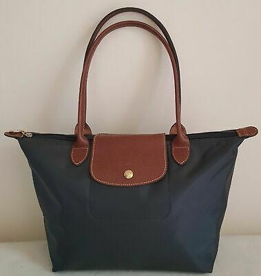 Auth Longchamp Graphite Le Pliage Nylon Large Tote Bag Leather Strap Handles