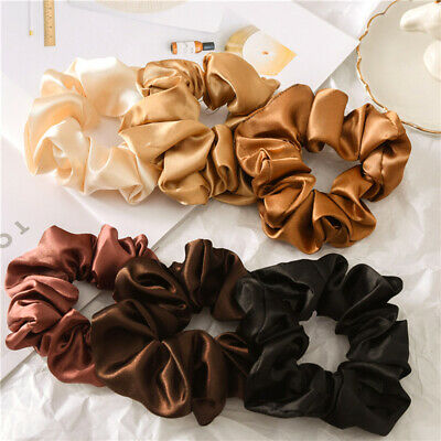 Soft Satin Silk Solid Color Hair Tie Elastic Scrunchie Ponytail Holder Hair Rope