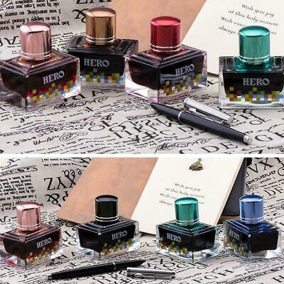 Fountain Pen Ink 40ml In Glass Bottle Choice Of 12 Bright Rich Colours D3X3