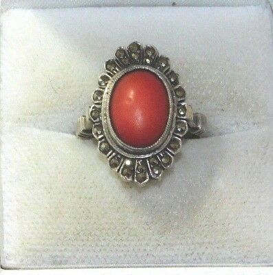 Vtg Deco Germany Sterling Silver Salmon Coral Marcasite 6.25 Ring 4.1gr 11i 10