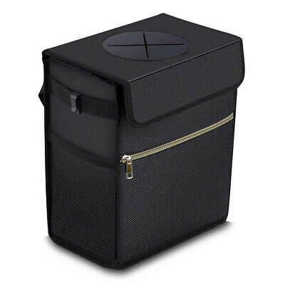 Foldable Car Rubbish Bin - 11L Auto Leakproof Waterproof Car Trash Bin (Black)