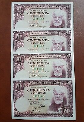 4 Billetes 50 pesetas 1951 SC CORRELATIVOS